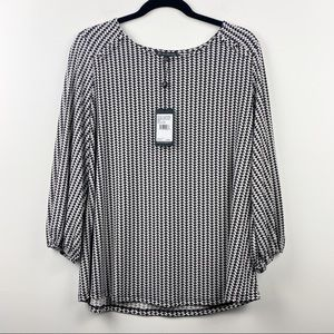 NEW ADRIANA PAPELL Black White Houndstooth 3/4 Sleeve NWT Blouse Size Large L
